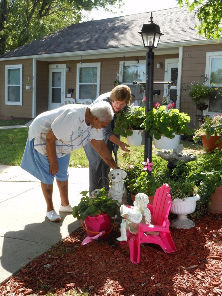 Senior care helper gardening